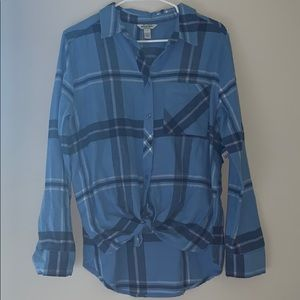 blue plaid long sleeve button up